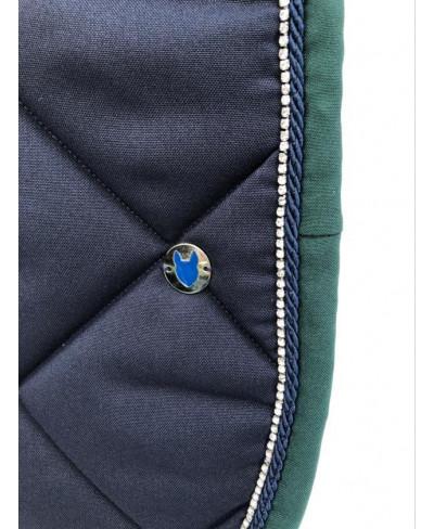 Tapis bleu horizon bord gris chiné tresse blanche, cordelette bleu canard