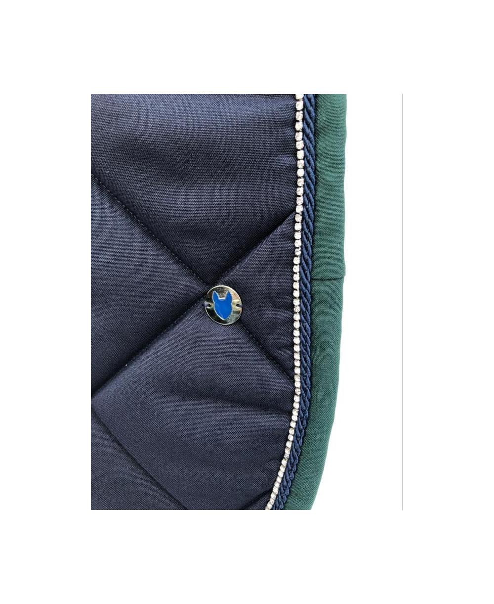 Tapis vente flash bleu horizon bord gris chiné tresse blanche, cordelette turquoise